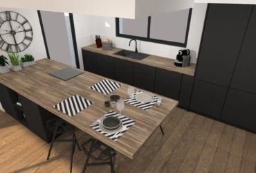 Cuisine ouverte et séjour moderne - Décoration Pérignat